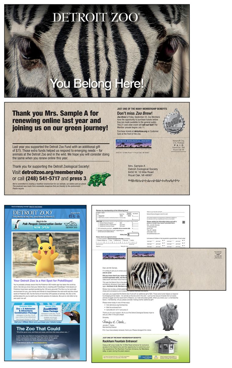 Detroit Zoo Renewal examples for direct mail and email channels