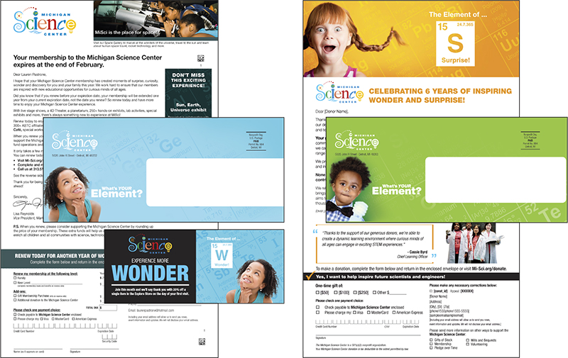 Michigan Science Center direct mail communications